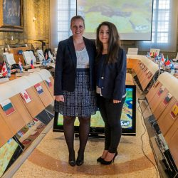Students Elizabeth Weisswange and Kalina Angelova at the model NATO summer school event.